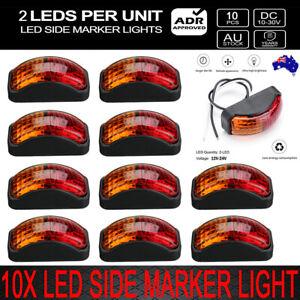 10-X-2-LED-CLEARANCE-LIGHTS-SIDE-MARKER-LAMP-RED-AMBER-TRAILER-TRUCK-10-30-Volt