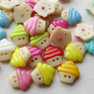 New 100pcs Ice Cream Plastic Buttons 16mm Sewing Craft 2 Holes Wholesales T0776