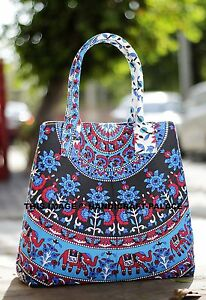 Women-Shopping-Shoulder-Bag-Star-Elephant-Mandala-Print-India-Turquoise-Tote-Bag