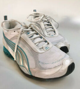 Puma Cell Women S White Green Teal Lace Up Running Shoes