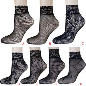 Soft-Black-Fishnet-Mesh-Lace-Ruffle-Socks-Stockings-ShortAnkle-Sexy-2018Women-WO