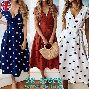 Women-Boho-Short-Sleeve-Polka-Dot-V-Neck-Midi-Dress-Ladies-Summer-Wrap-Dresses