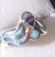 Cleopatra Egyptian Snake Ring, Art Deco Vintage Opal Amethyst Ring 7.5 Ladies