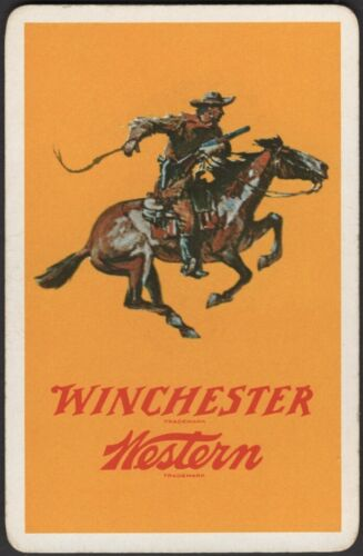 Playing Cards 1 Single Card Old Vintage WINCHESTER RIFLE Advertising Gun HORSE A