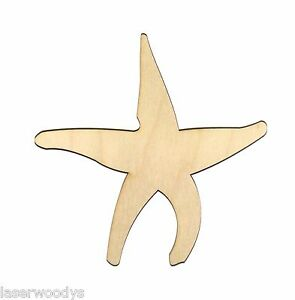 Starfish Style 1 Unfinished Wood Shape Cutout Variety Sizes USA Made Fish Theme Nautical Decor