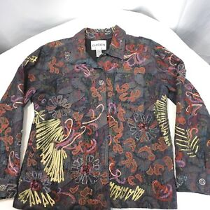 Chicos Denim Jean Jacket Size 1 8 Embroidered Floral Romantic
