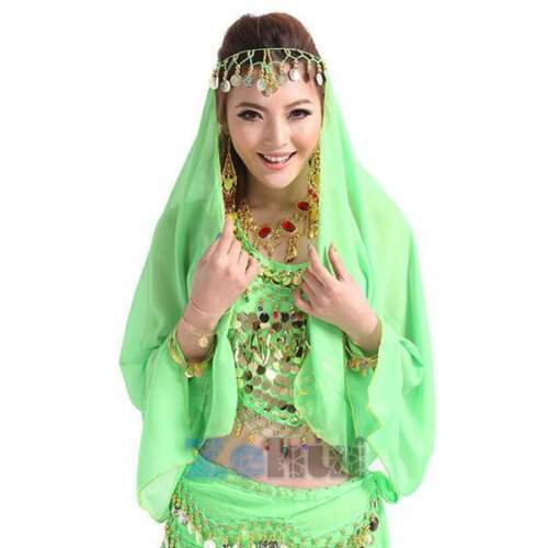 India Belly Dance Head Scarf Headpiece Chiffon Beads Coins Bollywood Costume