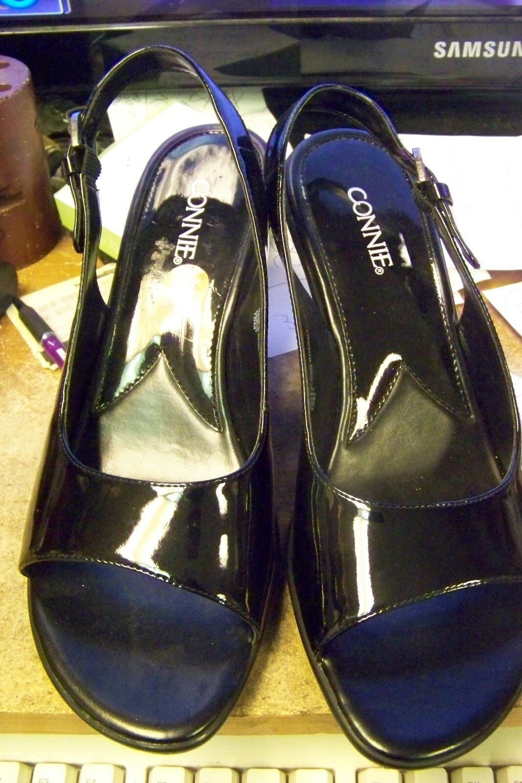 womens connie ashley black patent open toe 10 slingback heels shoes size 10 toe 2551fc