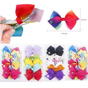 "6 Pcs//Set 5.5/"" Rainbow Printed Knot Ribbon Bow Hair Chip For Kids Girls Bowknot"