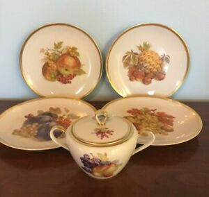 Hutschenreuther-Selb-LHS-Bavaria-Germany-Harvest-4-Fruit-Plate-Set-amp-Sugar-Bowl