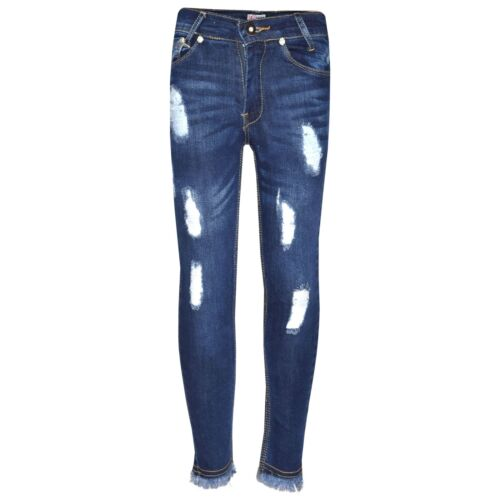 Girls Skinny Jeans Kids Stretchy Denim Ripped Rough Pants Trousers Jeggings 5-13