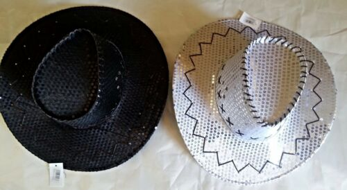 Silver//Black Sequin Cowboy//Cowgirl Hat//Hats Party Costume