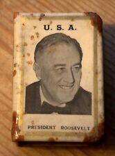 WW2 USA  President Roosevelt + Speeches - Celluloid Matchbox Holder Cover