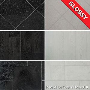 glossy wood tile effect vinyl flooring quality lino 2m 3m. Black Bedroom Furniture Sets. Home Design Ideas