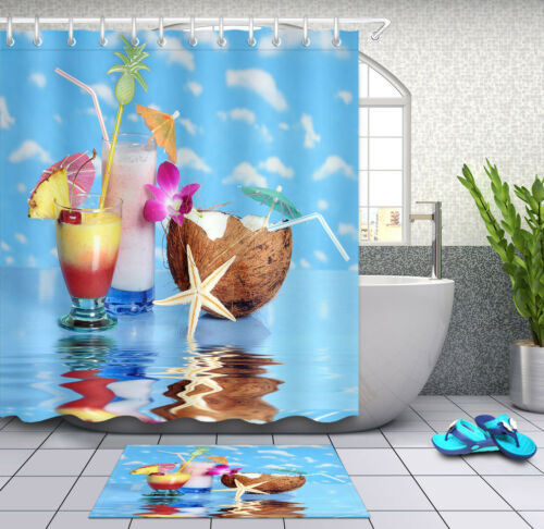 Drinks Sky Colored Cocktails Shower Curtain Bathroom Mat Waterproof Fabric Hooks