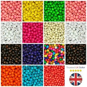 100-Pcs-12mm-ROUND-WOODEN-BEADS-WOOD-CRAFT-BEAD-KIDS-MANY-COLOURS-UK