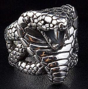 King Cobra Snake Big 925 Sterling Silver Mens Biker Ring Jewelry