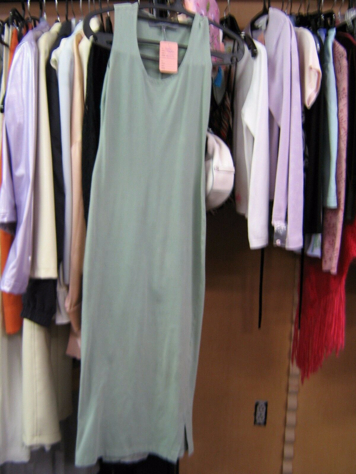Marla Maples personally owned mint sleeveless summer dress.