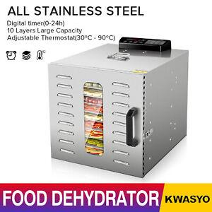 KWASYO-6-10-Tray-Food-Dehydrator-Machine-w-Digital-Control-Stainless-Steel-NEW