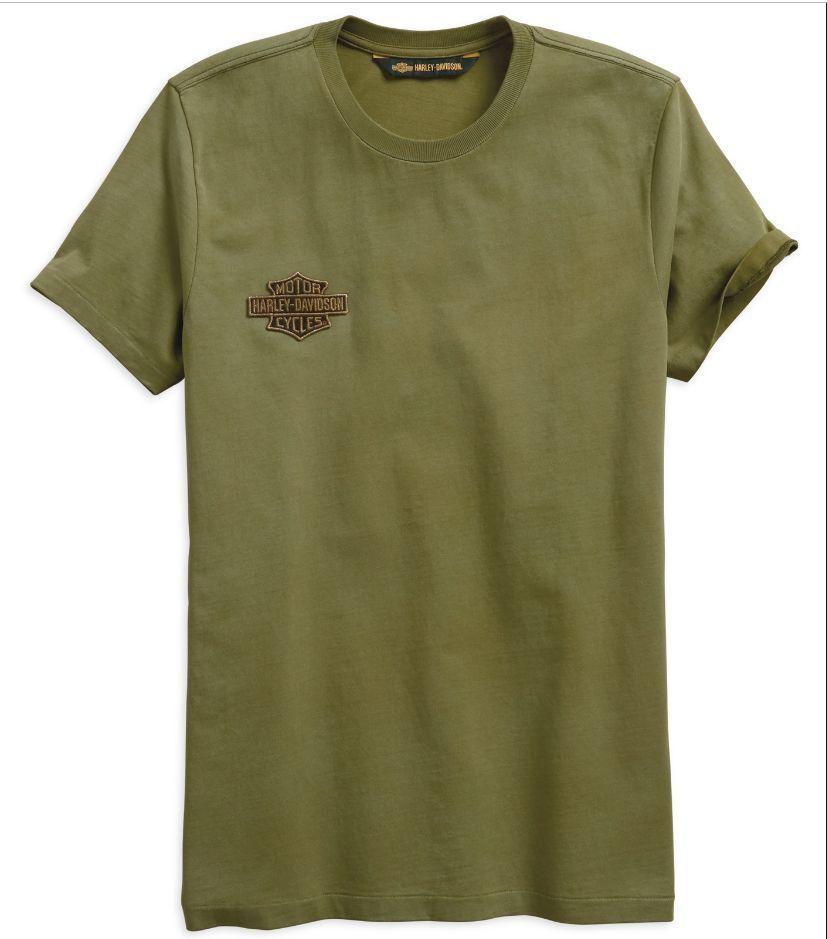 Harley Davidson Men's Winged Logo Patch Green T-shirt, 96522-19VM, Size 2XL