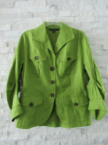 Lafayette 148 Bright Green Linen Shaped Sleeves Sa