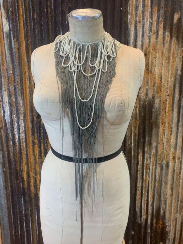 Haute Hippie Pearl Chain Fringe  Neckpiece Collar