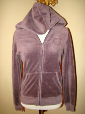JUICY COUTURE PURPLE HEART BLING VELVET VELOR TRACKSUIT JACKET HOODI HOODED M