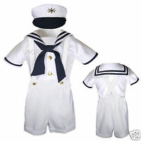 Baby & Toddler Formal Party Nautical Sailor Suit Outfits Sz: S M L Xl 3t 4t
