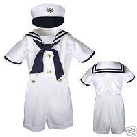 Baby & Toddler Formal Party Nautical Sailor Suit Outfits Sz: S M L Xl 3t 4t