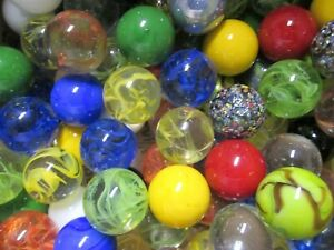 MARBLE LOT 2 POUNDS OF 1 INCH OPAL YELLOW MEGA MARBLES FREE SHIPPING