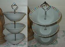 3 TIER TRINKET PASTRY CAKE PLATE STAND DISPLAY MULTI COLOURED SPOTS DOTS