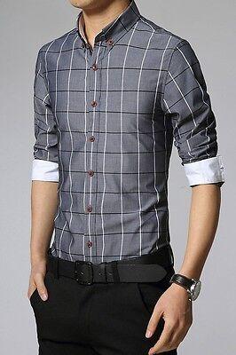 Mens Long Sleeve Casual T-Shirt Slim Fit Stylish Dress Shirts Tops blue size S
