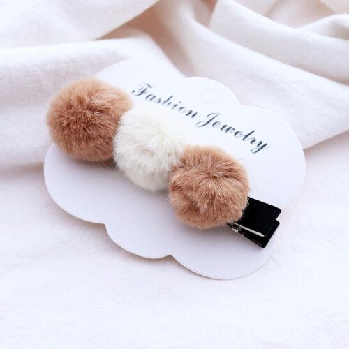 Girls Baby Kids Hair Accessories Rabbit Faux Fur Ball Alligator Clips Slides
