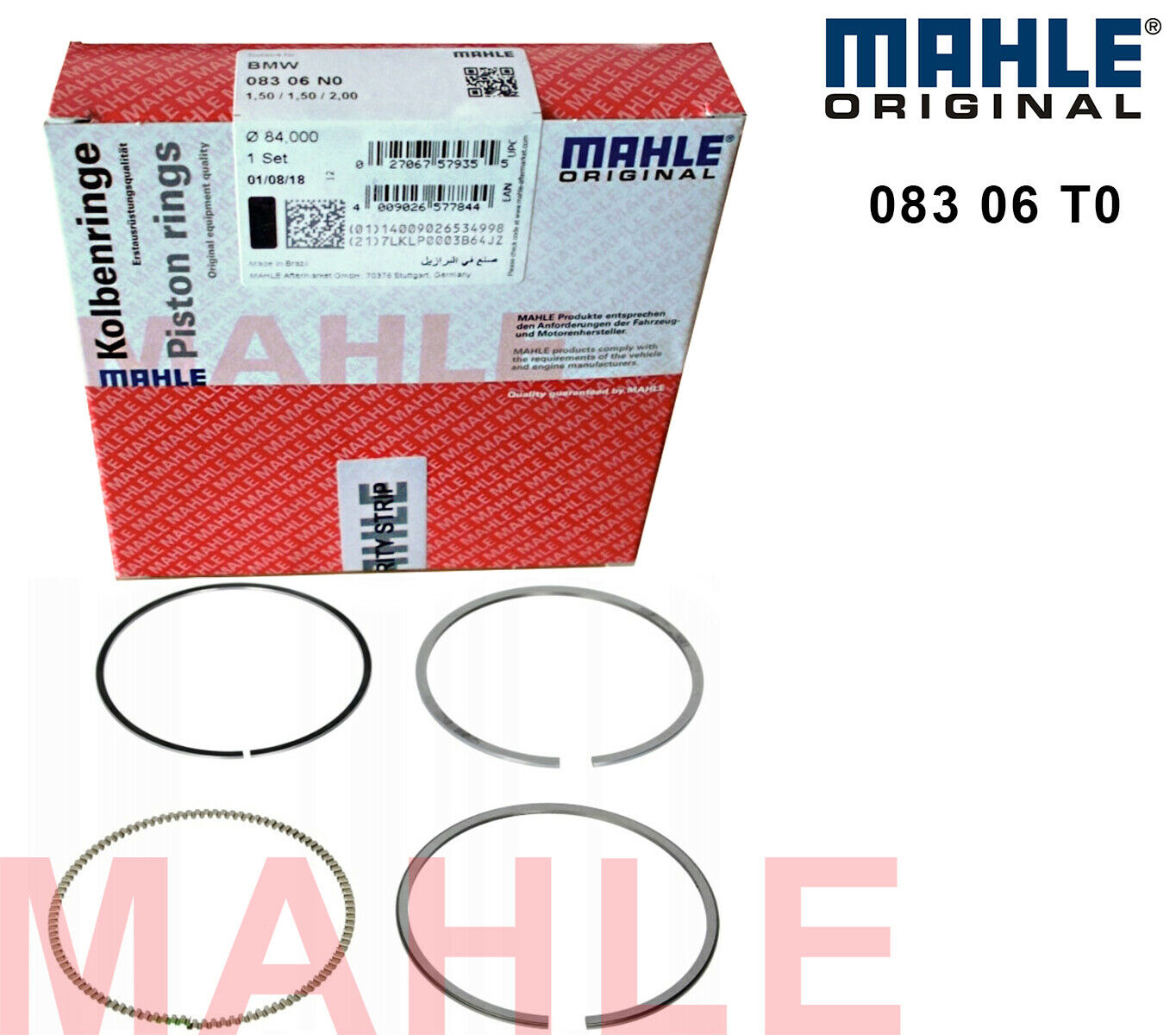 Mahle Original 083 21 N0 Piston Ring Set
