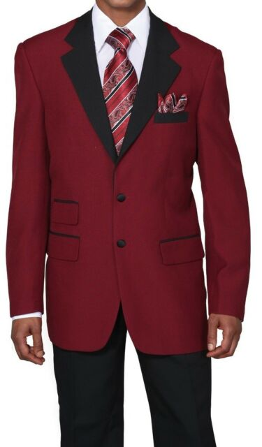 Men's Two Covered Button Suit with Pants in Burgundy/Black by Milano 7022