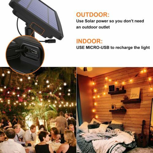 27FT Outdoor Solar LED String Light For Patio Lawn Party Cafe Backyard Garden