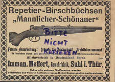 SUHL, Werbung 1903, Imman. Meffert Gewehr-Fabrik Repetier-Birsch-Büchsen Mannlic