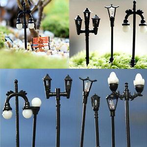 Farola-negra-Miniatura-Casa-de-munecas-Hada-jardin-DIY-Planta-Maceta-Decoracion