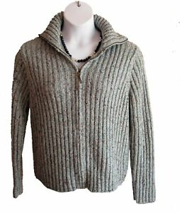 Zip Front Cardigan Size XL 14 16 Sweater Flecked Charter Club Blue Ribbed Casual