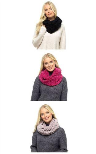 Womens Foxbury Luxury Soft Chenille Snood Scarf Raspberry Pink Pitch Black Mink