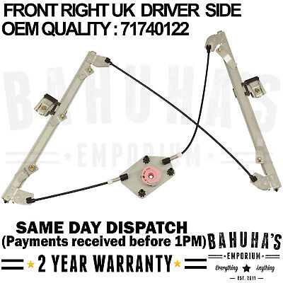 FOR ALFA ROMEO 159 2005/>2011 FRONT RIGHT SIDE ELECTRIC WINDOW REGULATOR 71740122
