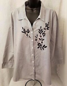 Las-Olas-Womens-Black-White-Striped-Floral-Button-Down-Shirt-Top-Blouse-Size-2X