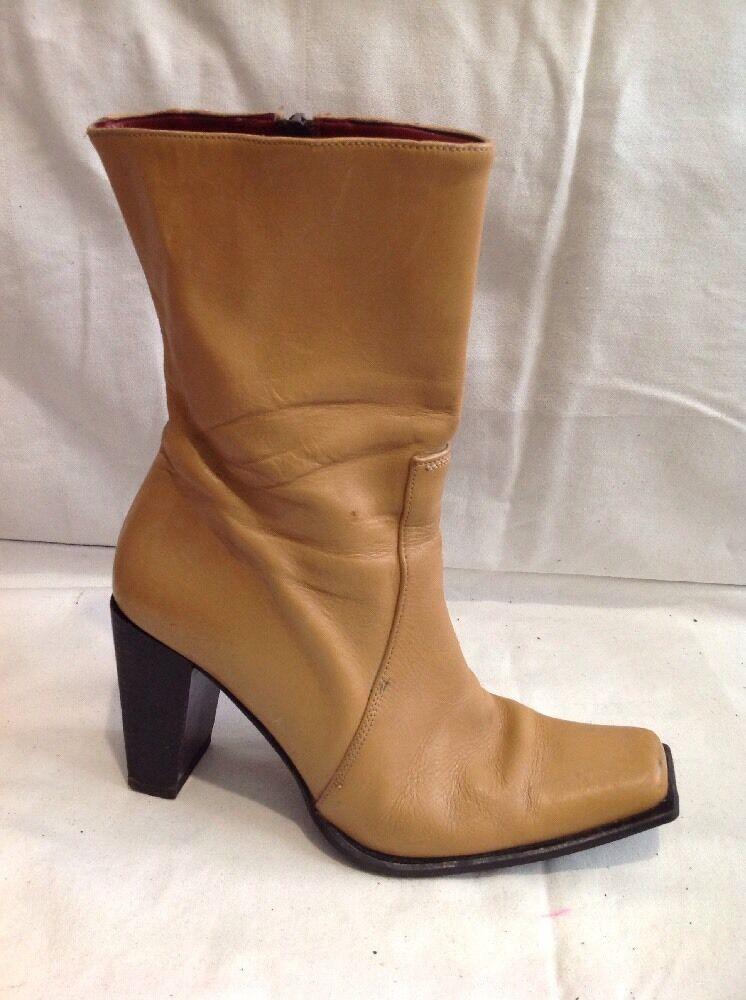 Vivaldi By Debenhams Beige Ankle Leather Boots Size 39