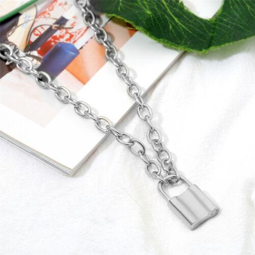 Fashion Punk PadLock Pendant Necklace Stainless Steel Chain Choker Jewelry