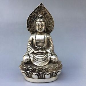 Exquisite-china-old-plating-TIBET-silver-Handwork-carved-KWAN-YIN-Buddha-Statue