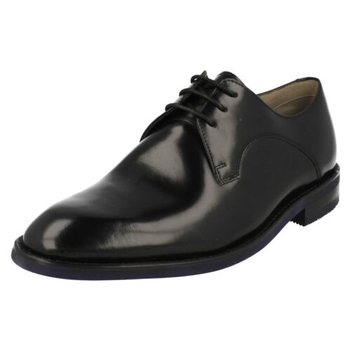 Mens Clarks Swinley Lace Smart Black Leather Lace Up Shoes