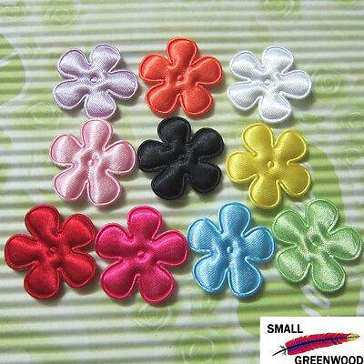 "(U Pick) Wholesale 50-500 Pcs. 1"" Padded Felt Satin Flower Appliques F3170"