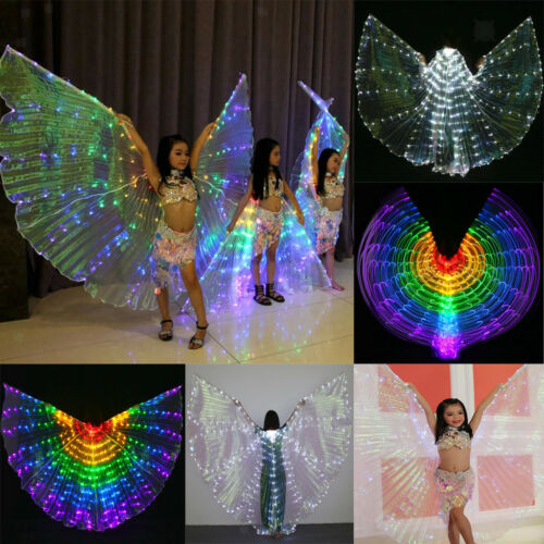 Kids Adult Belly Dance LED Isis Wings Egyptian Indian Club Light up Dancing Wing