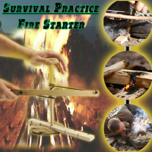Primitive Fire Starter Wood Hand Bow Drill Fire Making Kit Outdoor Survival Tool