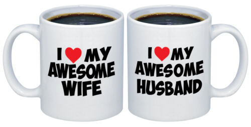 I Love my Awesome Wife Husband with Red Heart Valentines Gifts for Couples Mug